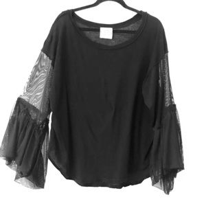 Free People Long Sleeve Mesh Top/T-Shirt
